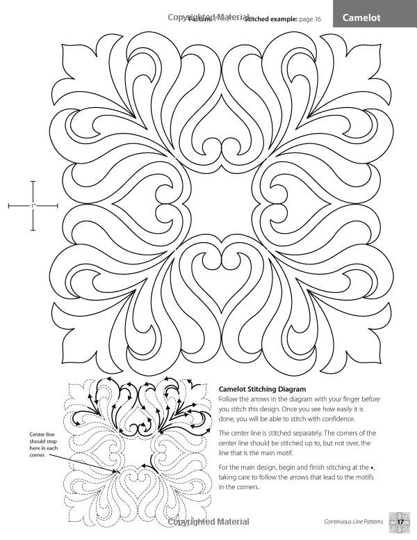 Continuous-Line Quilting Designs: 80 Patterns for Blocks