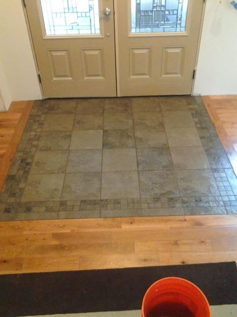 transition tile to wood entry way  Google Search