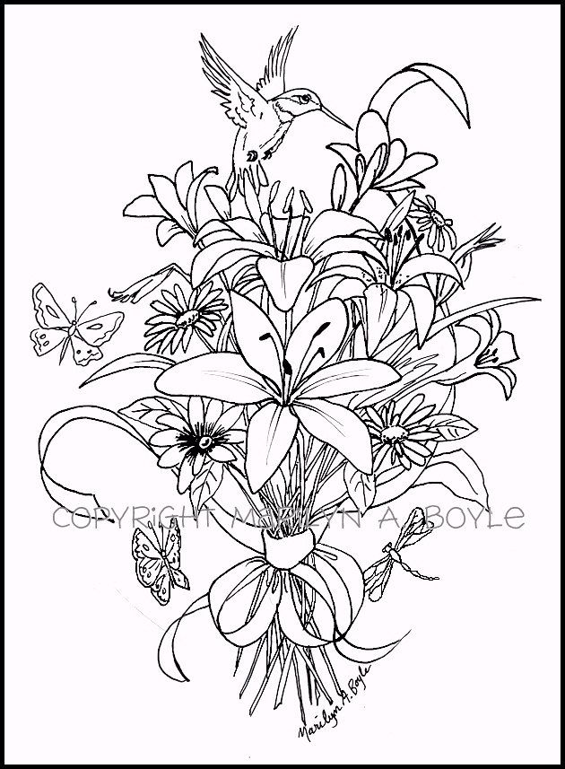 ADULT COLORING PAGE; digital download, bouquet of flowers