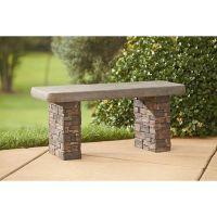 Outdoor Garden Faux Stone Bench Seating Brick Concrete ...