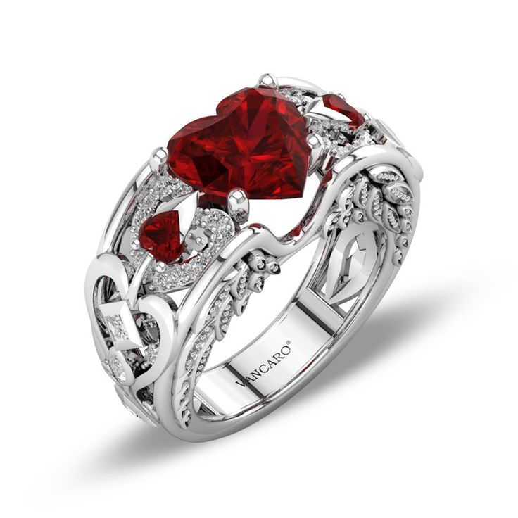 Angel Wing Inspired Lab Created Ruby Ring For Women