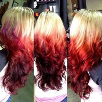 ombre hair color brown to red | Fire red ombre dipped on ...