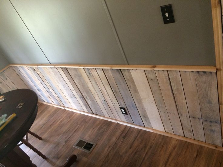 Whitewashed pallet wood wainscoting  Pallet ideas  Pinterest  Wainscoting Pallet wood and