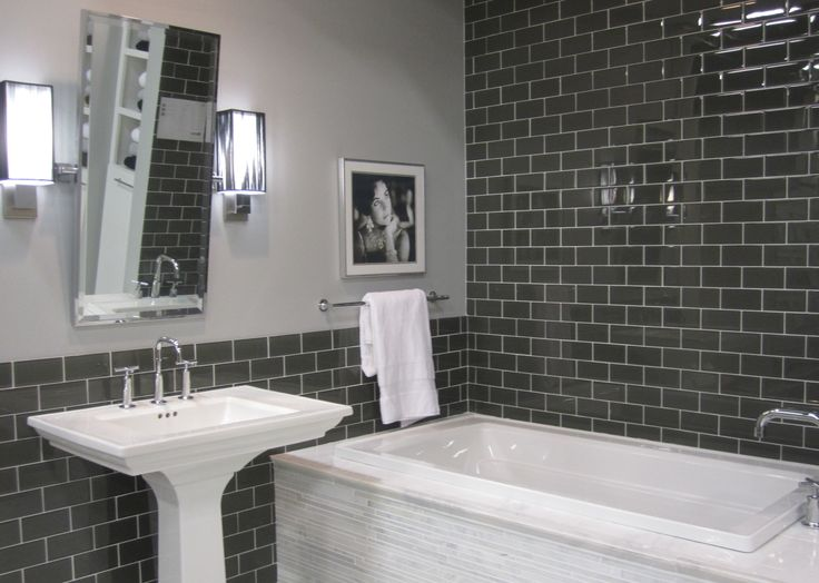 Tub surround Glass subway tile and White marble on Pinterest