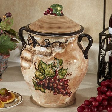 wine kitchen decor sets cost of remodeling a tuscan view grape design biscotti jar | design, jars and ...