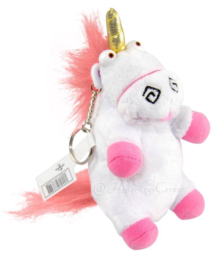 Cute Pink Snowman Wallpaper Authentic Despicable Me Fluffy Unicorn Plush Keychain 6