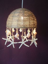 Jute and Shell Pendant Lamp - Coastal Cottage Decor with ...