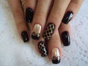 black - gold nail design nails
