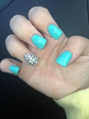 baby blue and rhinestones #nails