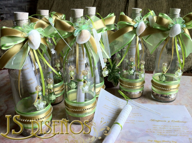 Modelo T097 Botellas Decoradas Para Boda Tarjetas JS