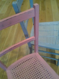 Shabby chic pastel painted chairs