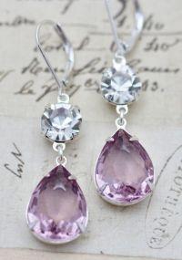 Light Purple Amethyst Clear Crystal Glass Earrings Silver ...