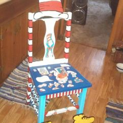 Funky Wooden Chairs Table And Chair Super Cute My Mom I Painted To Go With Dr Seuss Theme Classroom. | ...