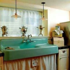 Old Kitchen Sink With Drainboard Base Cabinet Drawers Vintage Farm Sink. | Vintage/retro Kitchens ...