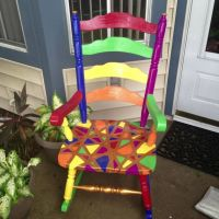 Multicolored painted wood rocking chair by KraftsbyKy on