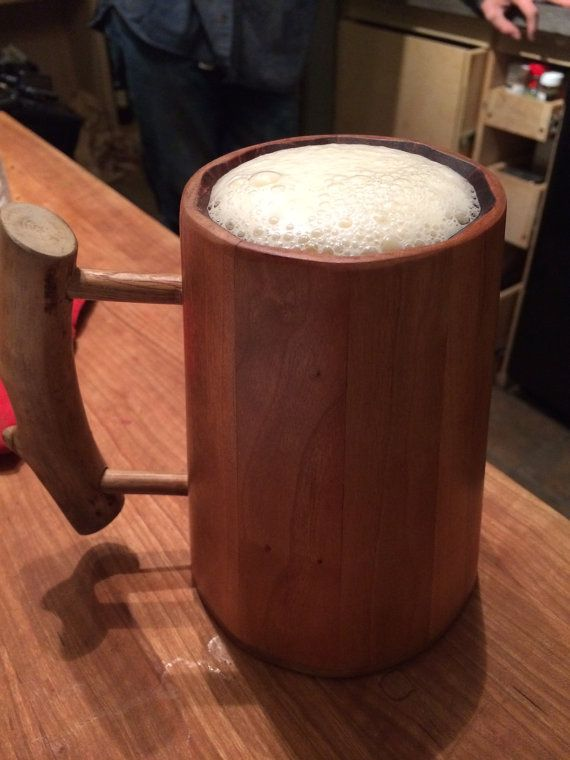 Handmade wood beer tankard  mug Tolkien and medieval inspired Cherry wood with natural finish