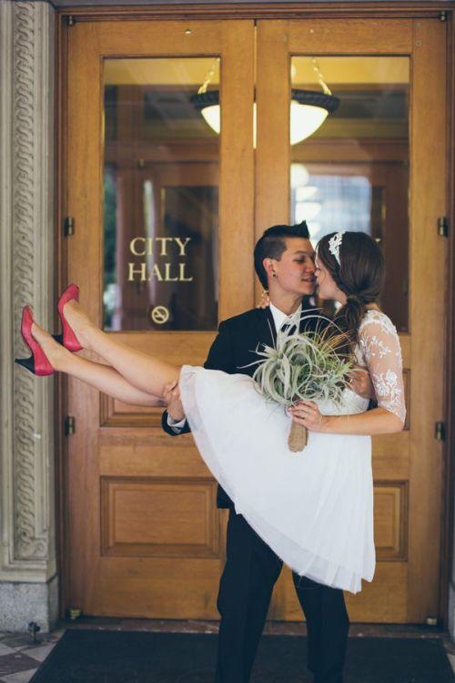 Portland city hall wedding. Photo: Christy Cassano-Meyer