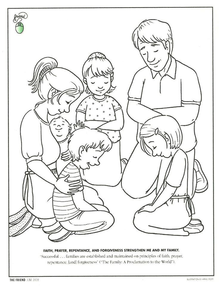 Dibujo para colorear. Familia orando. #Catequesis. www