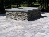stone patio with fire pit | Gas Fire Pit blue stone cap ...