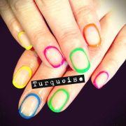 neon circular nail art colorful