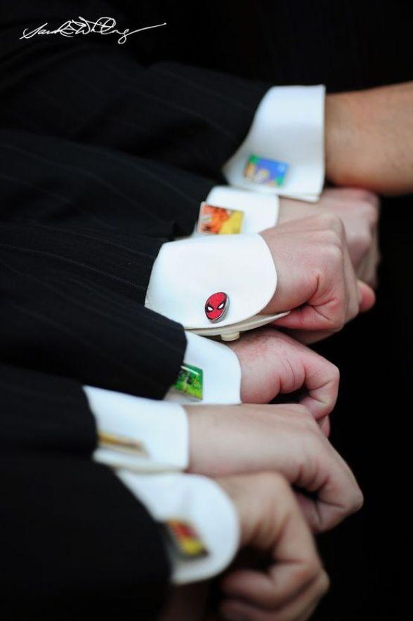 cool groomsmen gift: Custom superhero cufflinks! hulk, superman, and captain planet: