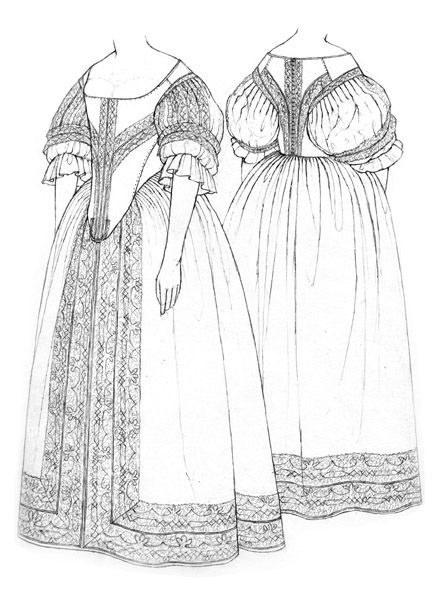 Bodice & petticoat c.1660, drawing by Janet Arnold