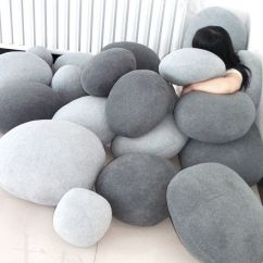 Grey Sofa Set Cheap Average Bed Dimensions Of 6 Pebble Stone Pillows - Beige Or Stone. Rock ...
