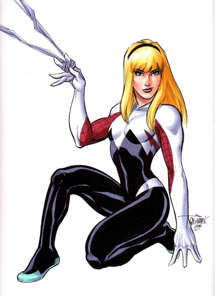 Sexy Gwen Stacy Spider Woman Spider Man Original Art By