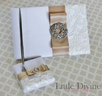 Wedding Guest Book and Pen set White Ivory by LittleDivine ...
