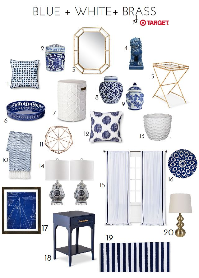 20 Classic Blue, White & Brass Accessory Finds At Target