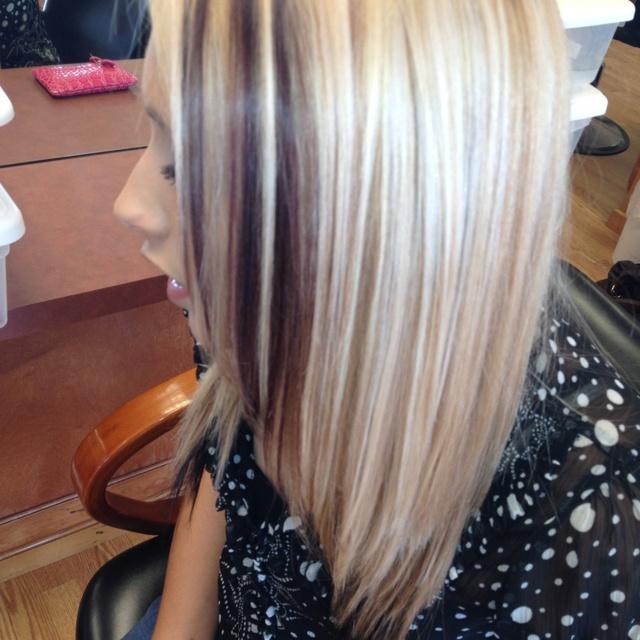 Blonde Highlights Carmel Lowlights Mohogany Underneath