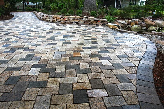 recycled granite patio in mixed