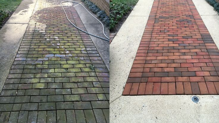 Before and after brick and concrete driveway  walkway