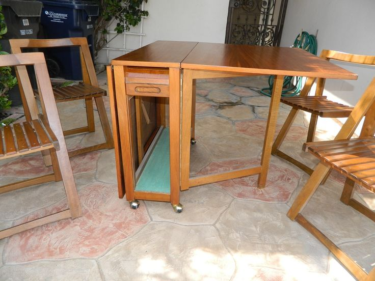 danish modern dining chair target sling tan hide-away set - 4 folding chairs w/ console table mid century | sets ...