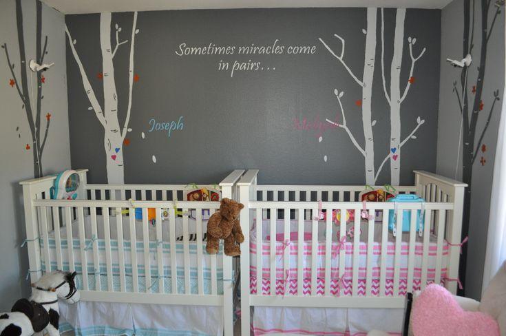 Baby Girl Nursery Removable Wallpaper Boy Girl Twin Nursery Pottery Barn Cribs That Can Be