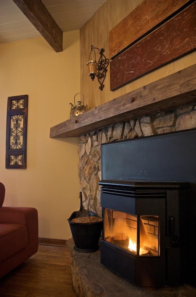 Pellet Stove stone wood beams  Home  Pinterest  Stove