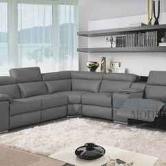 4 Piece Recliner Sectional Sofa Double Bed Grey Leather Modern With Two Recliners And ...