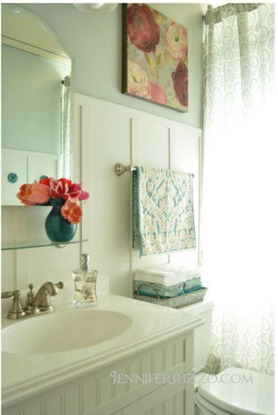 martha stewart bathroom paint color ideas vintage inspired bathroom, board and batten-Wall color Martha Stewart Dolphin Grey | Bathroom