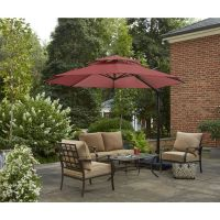 Shop Garden Treasures Round Red Offset Patio Umbrella with ...
