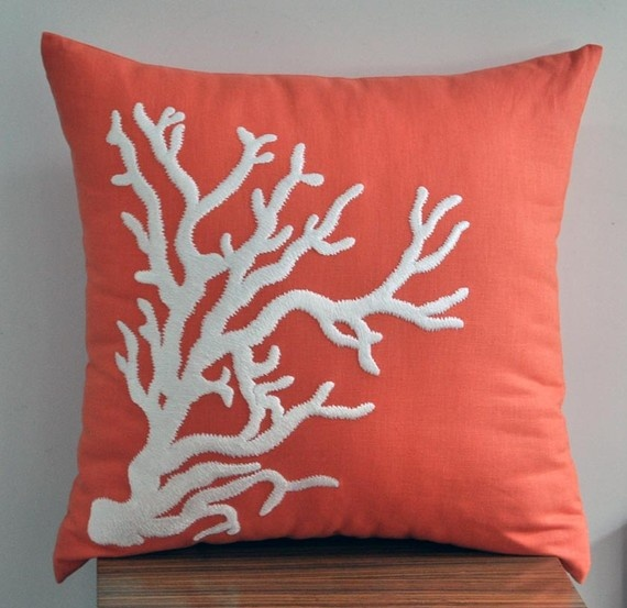 Coral colored coral throw pillow to accent my blue fish