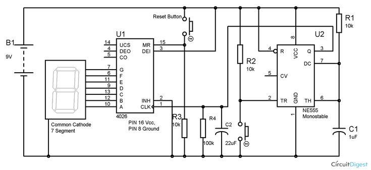 555 Timer 7 Segment Display Counter Circuit Diagram