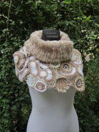 Ivory Beige Crochet Shawl, Freeform Crochet, Irish Crochet ...