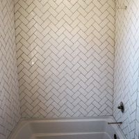 I decided to do a white 3x6 subway tile but lay in a ...