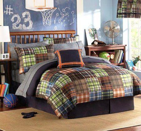 Amazoncom  Brown Blue Orange Green Plaids and Stripes Teen Boys Twin Comforter Set 10