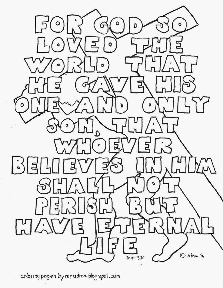 Coloring Pages for Kids by Mr. Adron: John 3:16 Coloring