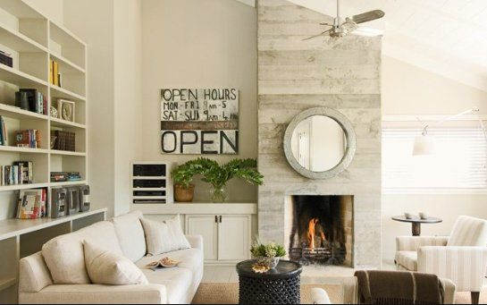 asymmetrical fireplace wall  Living Room Ideas