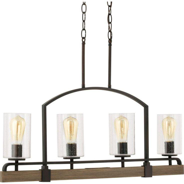 bronze kitchen chandelier knives progress lighting grove collection 4-light vintage ...