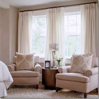 window treatment idea for 2 windows close together. 2 sets ...