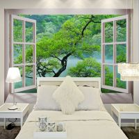 Free Shipping 3D fake windows tree landscape wallpaper