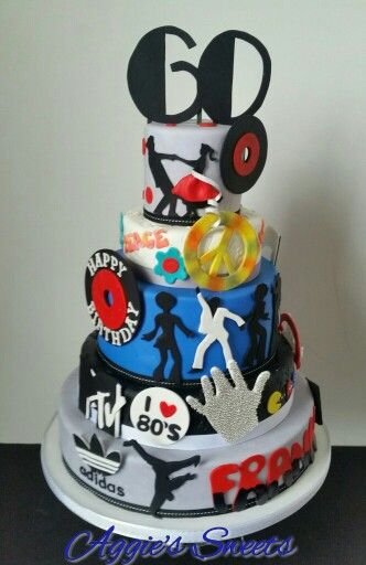 50 S 60 S 70 S 80 S And 90 S Themed Birthday Cake